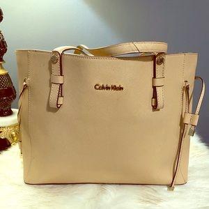 Calvin Klein leather tote bag tan medium size